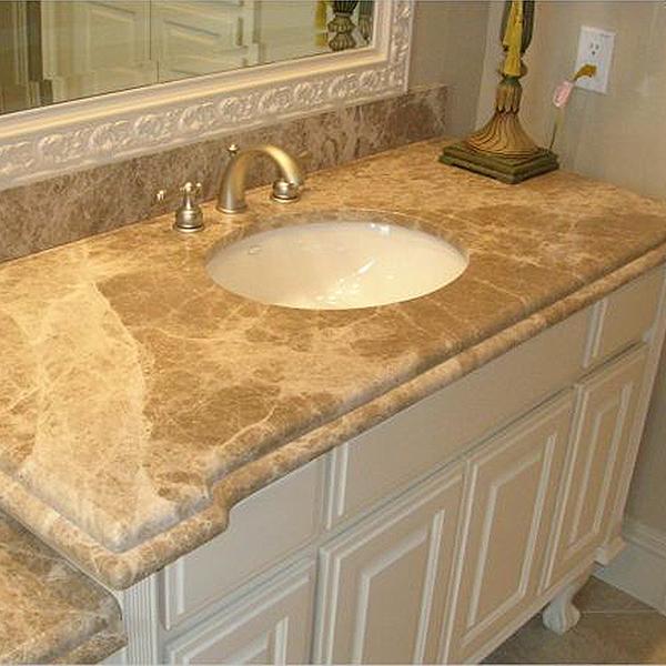 Столешница в ванной комнате из мрамора Emperador Light